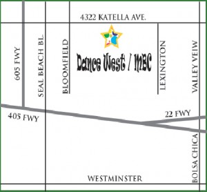 Map to the Dance West Dance Studio